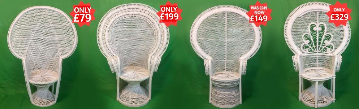 Large White Peacock Chairs